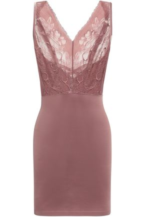 WOLFORD Paneled lace and stretch-jersey slip dress