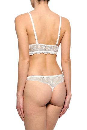 CALVIN KLEIN UNDERWEAR Lace and stretch-jersey low-rise thong