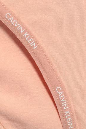 CALVIN KLEIN UNDERWEAR Striped stretch-cotton mid-rise briefs