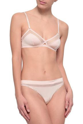 CALVIN KLEIN UNDERWEAR Mesh and stretch-jersey low-rise thong