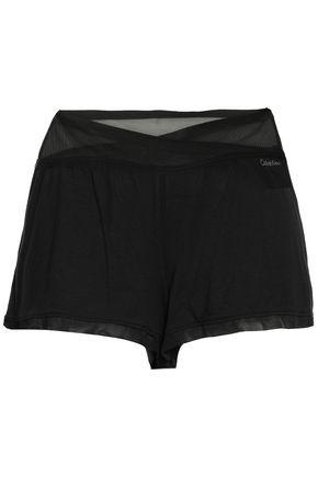 CALVIN KLEIN UNDERWEAR Tulle-paneled stretch-modal pajama shorts