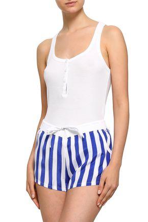 CALVIN KLEIN UNDERWEAR Striped mousseline and stretch-modal jersey pajama set