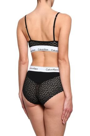 CALVIN KLEIN UNDERWEAR Embroidered stretch-knit and lace bandeau bra