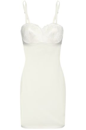 WOLFORD Strapless paneled lace and tulle slip