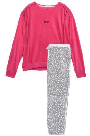 DKNY Embroidered printed fleece pajama set