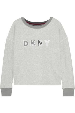 DKNY Embroidered printed mélange jersey top