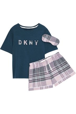 DKNY Hello Fall appliquéd cotton-blend jersey and checked flannel pajama set