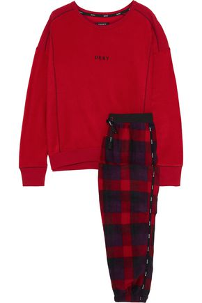DKNY Embroidered checked fleece pajama set