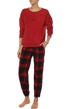 89ca6c7d18da DKNY Embroidered checked fleece pajama set