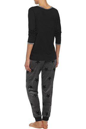DKNY Appliquéd stretch-jersey pajama top
