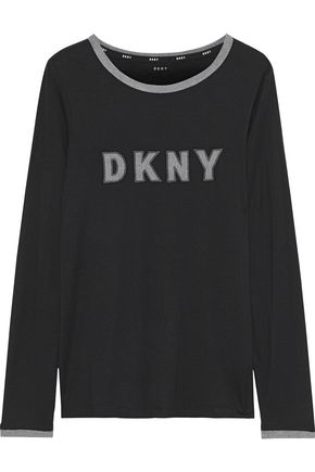 DKNY Appliquéd stretch-jersey pajama top