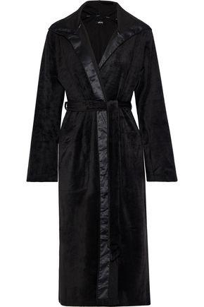 DKNY Satin-trimmed fleece hooded robe