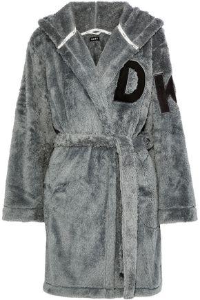 DKNY Appliquéd fleece hooded robe