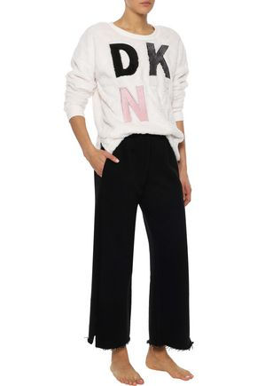 DKNY Appliquéd fleece sweatshirt