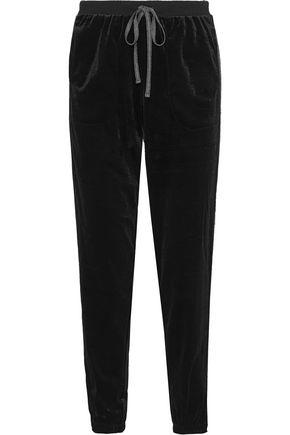 DKNY Metallic-trimmed velour pajama pants