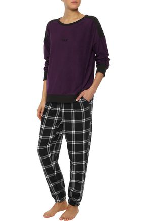 2c8716218125 DKNY Embroidered checked fleece pajama set