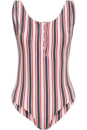 ANINE BING Striped cotton-blend jersey bodysuit