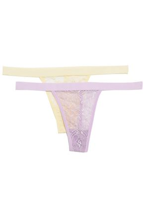 ANINE BING Set of two corded lace low-rise thongs