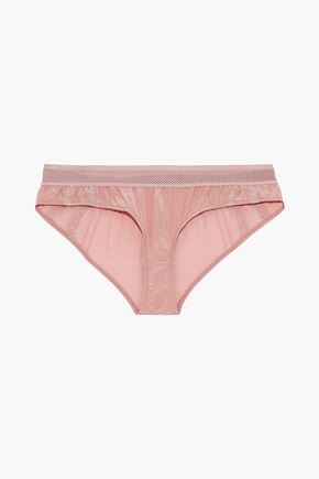 STELLA McCARTNEY Rose Romancing lace-trimmed ruched silk low-rise briefs