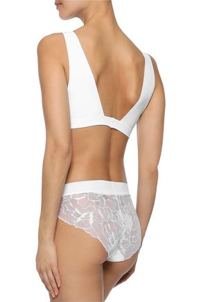 COMMANDO Stretch-jersey and lace mid-rise briefs