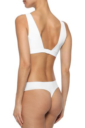 COMMANDO Lace and stretch-jersey mid-rise thong