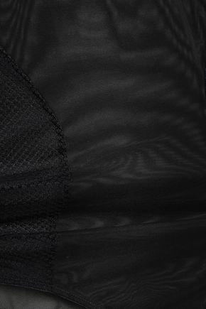 STELLA McCARTNEY Alice Singing lace-paneled stretch-mesh bodysuit