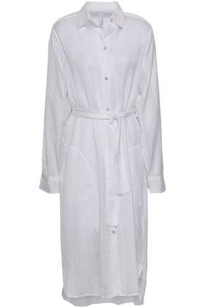 COMMANDO Belted striped jacquard nightshirt