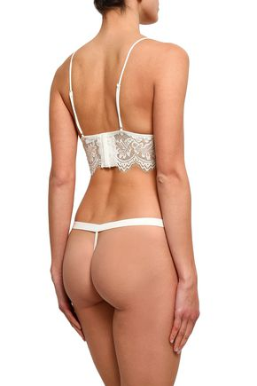 ANINE BING Lace and stretch-jersey thong