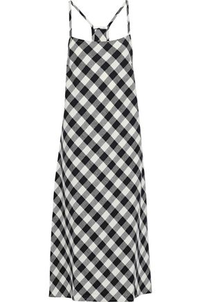 SKIN Gingham cotton-flannel chemise