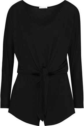 SKIN Cutout knotted stretch-jersey playsuit