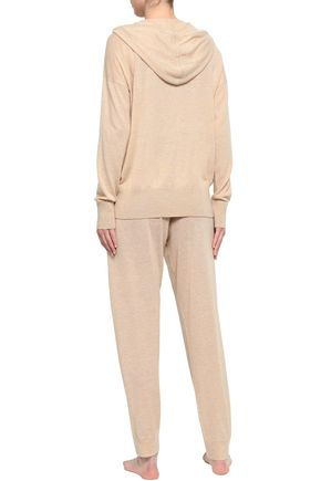 SKIN Mélange wool-blend pajama pants
