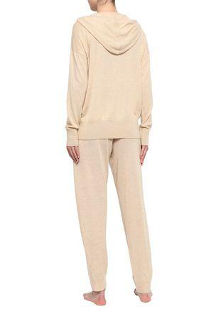 SKIN Malika mélange wool-blend hooded pajama top