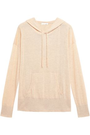 SKIN Malika mélange wool-blend hooded pajama top