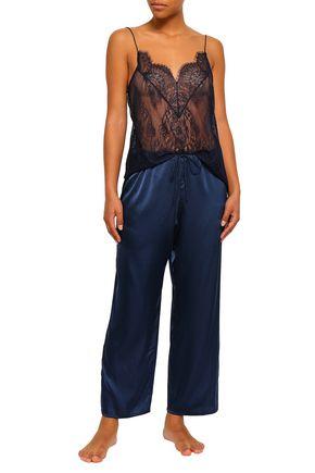 SKIN Stretch-silk satin pajama pants