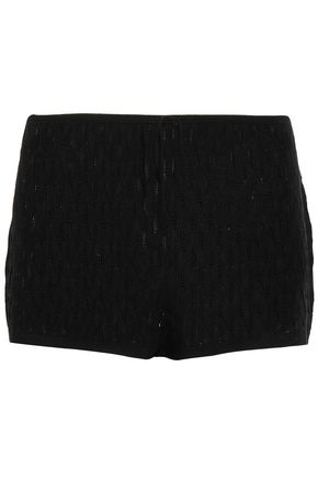 SKIN Pointelle-knit wool-blend pajama shorts