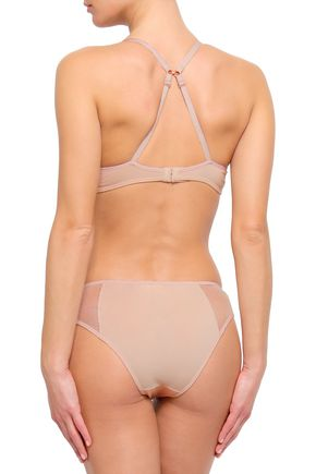 SKIN Mesh-paneled cotton-blend jersey soft-cup triangle bra