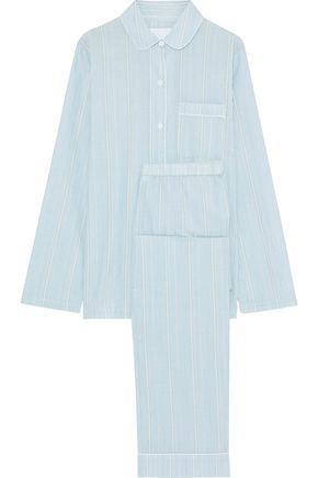 THREE J NYC Murphy striped cotton-poplin pajama set
