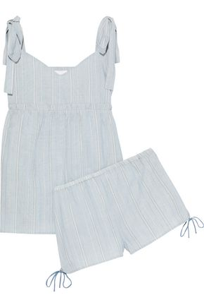 THREE J NYC Jackie bow-detailed striped cotton-poplin pajama set