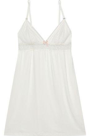 EBERJEY Greta Swiss-dot tulle-paneled stretch-modal chemise