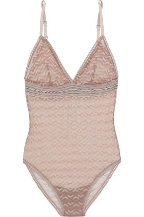 ELSE Boomerang lace-trimmed stretch-mesh bodysuit
