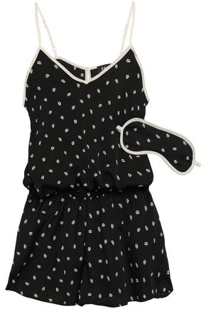 DKNY | Dkny Printed Crepe De Chine Playsuit And Eye Mask Set | Goxip