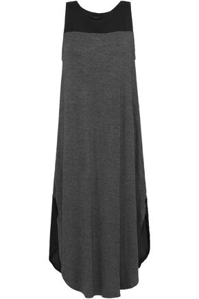 DKNY Paneled stretch-jersey and crepe de chine nightdress