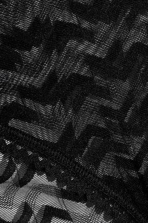 ELSE Boomerang lace-trimmed stretch-mesh bodysuit