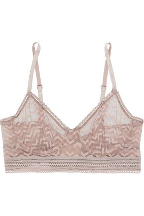 ELSE Boomerang lace-trimmed stretch-mesh underwired bra