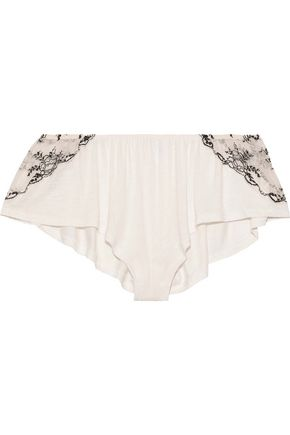 EBERJEY | Eberjey Paloma Embroidered Lace-Trimmed Jersey Pajama Shorts | Goxip