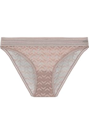 ELSE Boomerang lace-trimmed stretch-mesh mid-rise briefs