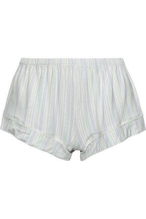 EBERJEY Painted Stripes printed stretch-modal pajama shorts
