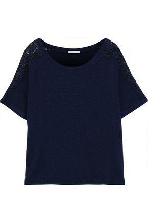 EBERJEY Cara lace-trimmed stretch-jersey T-shirt