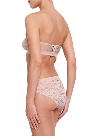 ELSE Strapless corded lace and stretch-mesh underwired bra