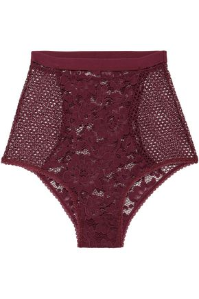 ELSE | Else Cutout Corded Lace And Stretch-Mesh High-Rise Briefs | Goxip